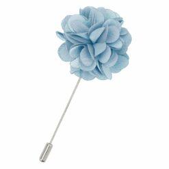 Dusty Blue Plain Satin Lapel Pin