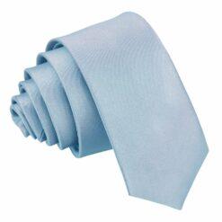Dusty Blue Plain Satin Skinny Tie