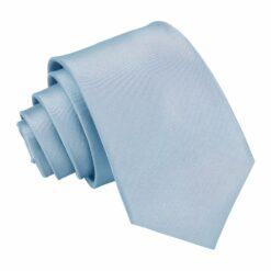 Dusty Blue Plain Satin Slim Tie