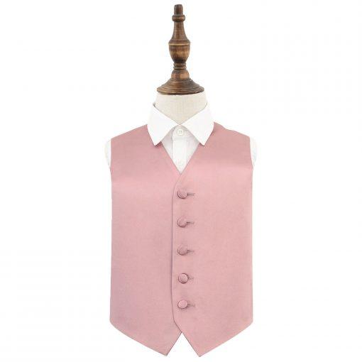 Dusty Pink Plain Satin Wedding Waistcoat for Boys