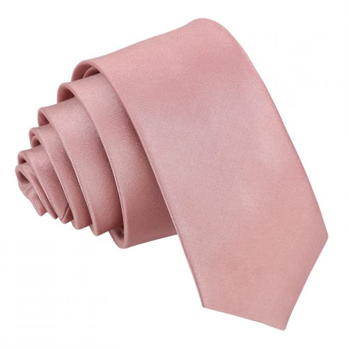 Dusty Pink Plain Satin Skinny Tie