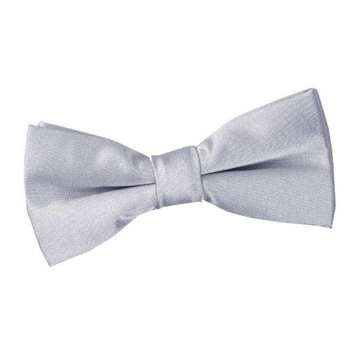 Silver Plain Satin Pre-Tied Bow Tie for Boys