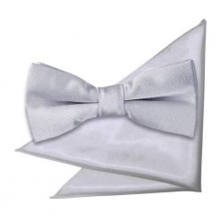 Silver Plain Satin Bow Tie & Pocket Square Set for Boys