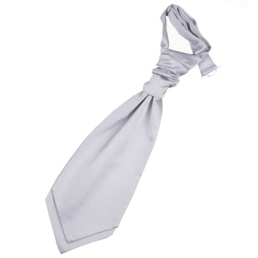 Silver Plain Satin Pre-Tied Wedding Cravat for Boys