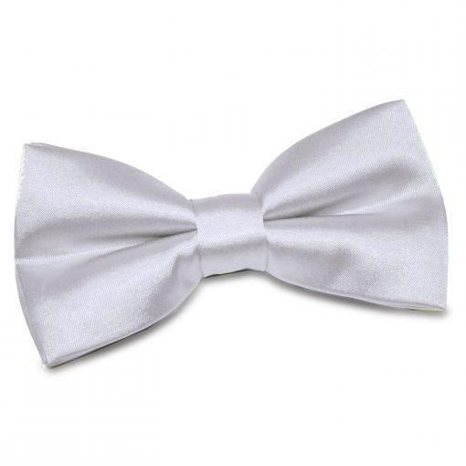 Silver Plain Satin Pre-Tied Bow Tie
