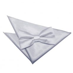 Silver Plain Satin Bow Tie & Pocket Square Set
