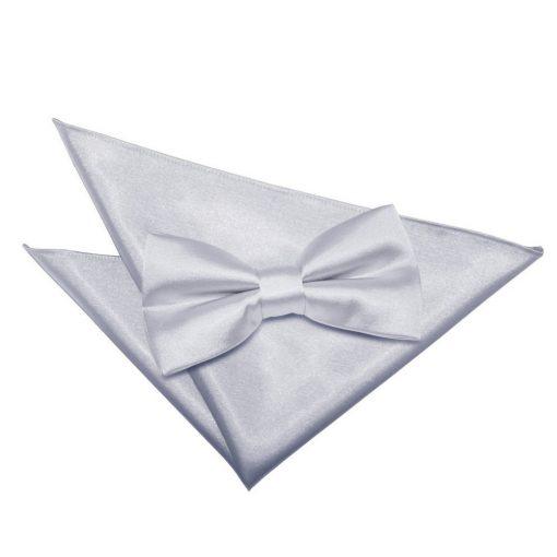Silver Plain Satin Bow Tie & Pocket Square Set