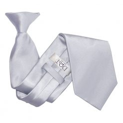 Silver Plain Satin Clip On Tie