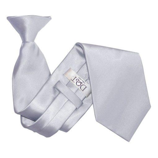 Silver Plain Satin Clip On Tie