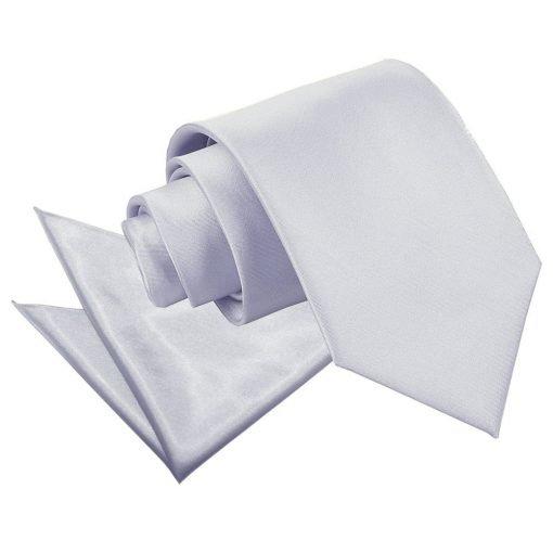 Silver Plain Satin Tie & Pocket Square Set