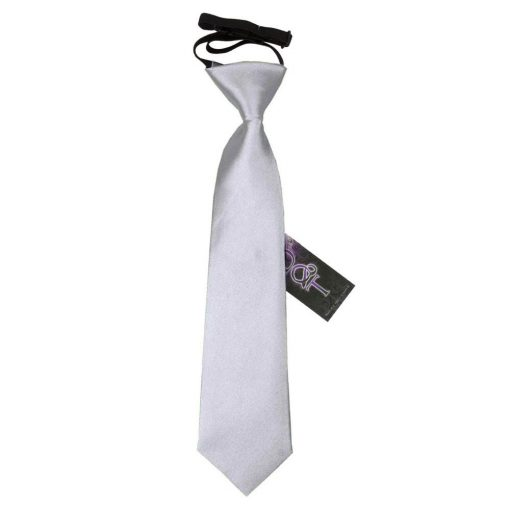 Silver Plain Satin Elasticated Tie for Boys