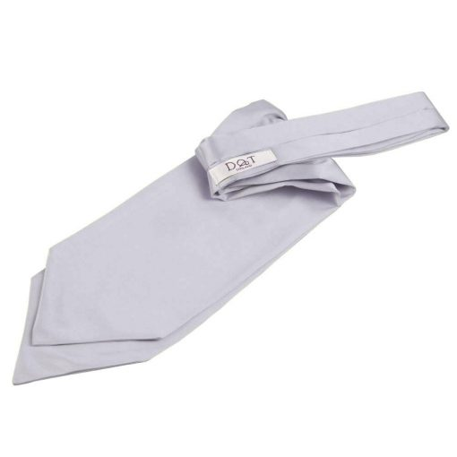 Silver Plain Satin Self-Tie Wedding Cravat