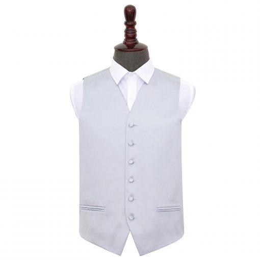 Silver Plain Satin Wedding Waistcoat