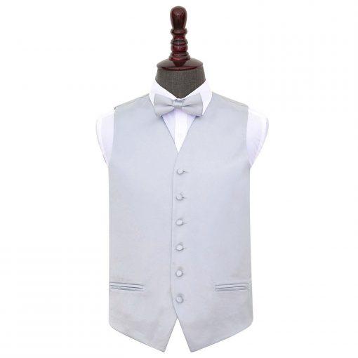 Silver Plain Satin Wedding Waistcoat & Bow Tie Set