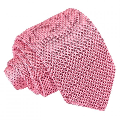 Strawberry Pink Knitted Slim Tie
