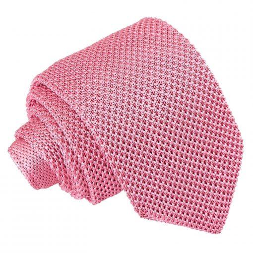 Strawberry Pink Knitted Slim Tie & Pocket Square Set