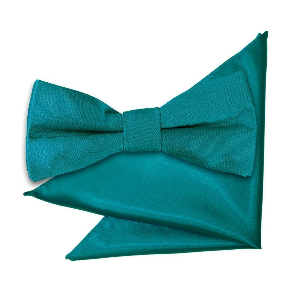 2786b5b1442a0 Teal Plain Satin Bow Tie & Pocket Square Set for Boys