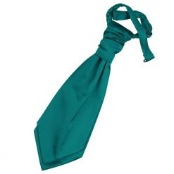 Teal Plain Satin Pre-Tied Wedding Cravat for Boys