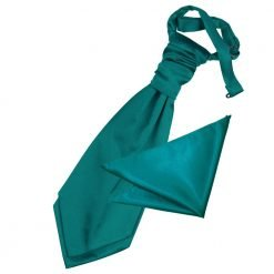 Teal Plain Satin Wedding Cravat & Pocket Square Set for Boys