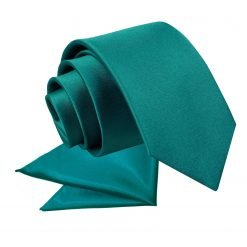 Teal Plain Satin Tie & Pocket Square Set for Boys