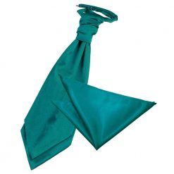 Teal Plain Satin Wedding Cravat & Pocket Square Set