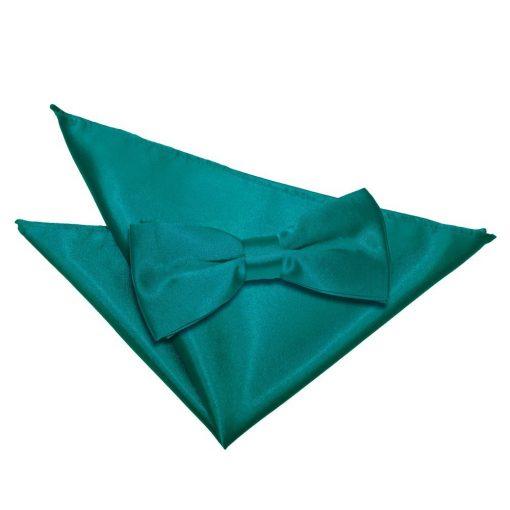Teal Plain Satin Bow Tie & Pocket Square Set