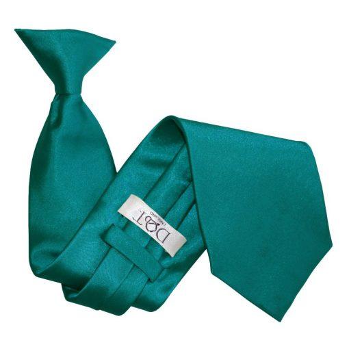 Teal Plain Satin Clip On Tie