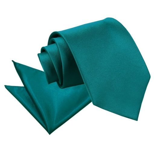 Teal Plain Satin Tie & Pocket Square Set