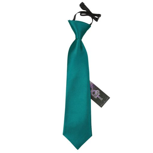 Teal Plain Satin Elasticated Tie for Boys