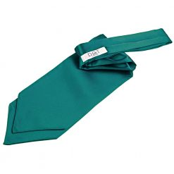 Teal Plain Satin Self-Tie Wedding Cravat