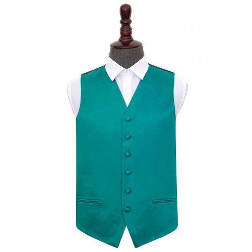 Teal Plain Satin Wedding Waistcoat