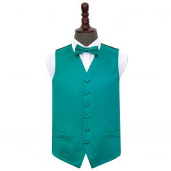 Teal Plain Satin Wedding Waistcoat & Bow Tie Set