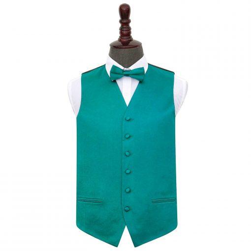 Teal Plain Satin Wedding Waistcoat & Bow Tie Set