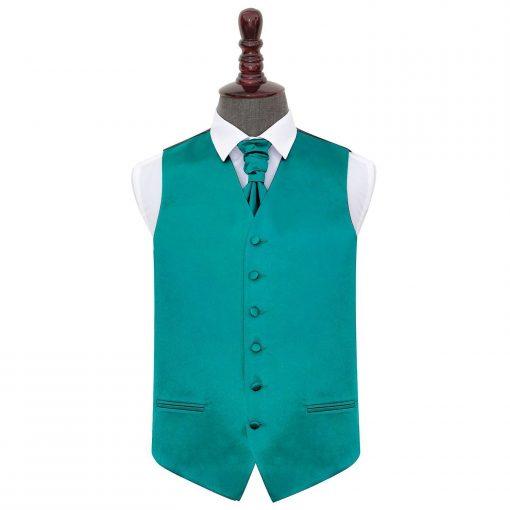 Teal Plain Satin Wedding Waistcoat & Cravat Set