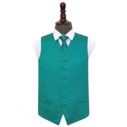 Teal Plain Satin Wedding Waistcoat & Tie Set