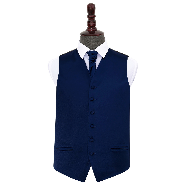 DQT Satin Plain Solide Bleu Marine pour homme mariage Gilet /& Cravate Set