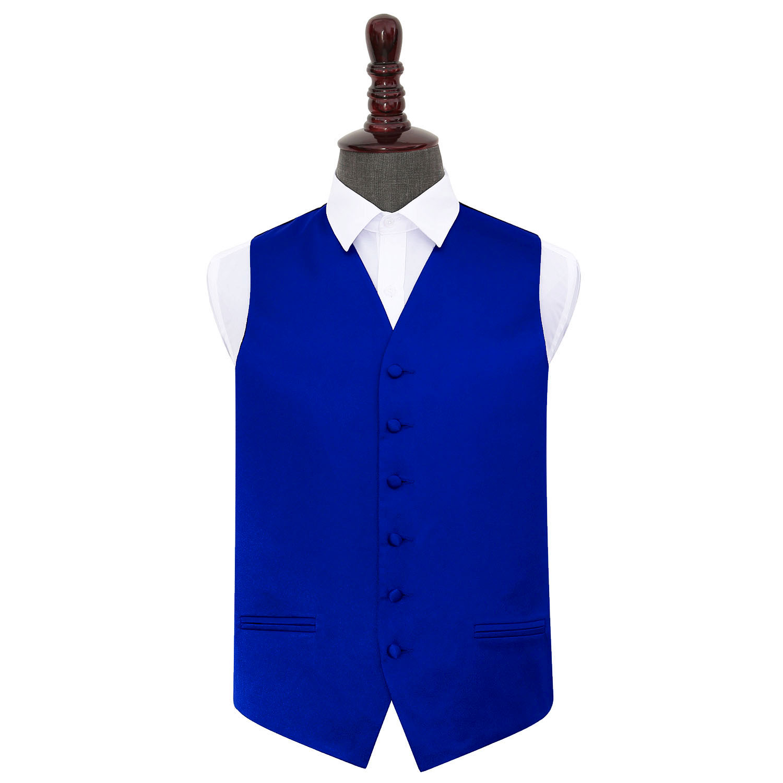 DQT Satin Plain Solid Royal Blue Formal Tuxedo Mens Wedding Waistcoat S-5XL