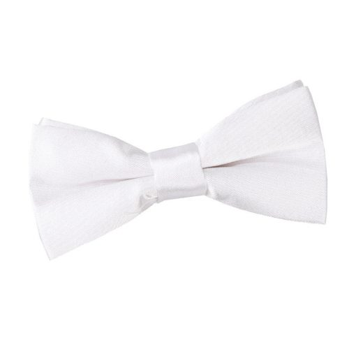 White Plain Satin Pre-Tied Bow Tie for Boys
