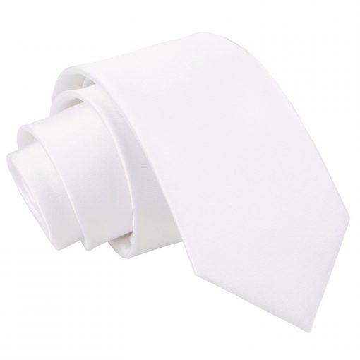 White Plain Satin Regular Tie for Boys