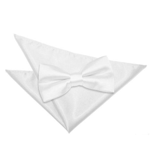 White Plain Satin Bow Tie & Pocket Square Set