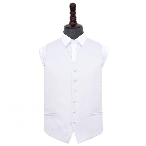 White Plain Satin Wedding Waistcoat