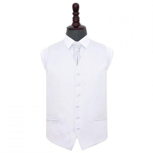 White Plain Satin Wedding Waistcoat & Cravat Set