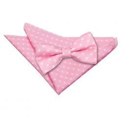 Pink Polka Dot Bow Tie & Pocket Square Set