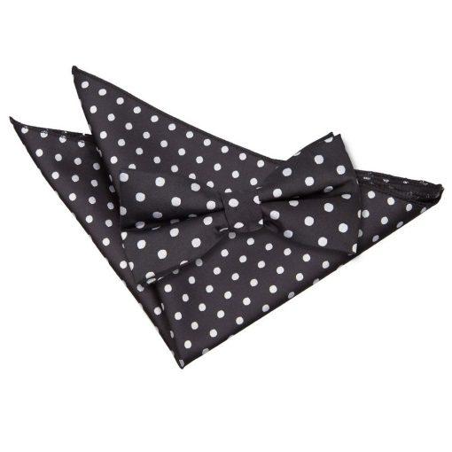 Black Polka Dot Bow Tie & Pocket Square Set