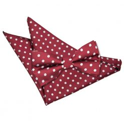Burgundy Polka Dot Bow Tie & Pocket Square Set