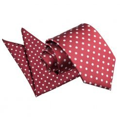 Burgundy Polka Dot Tie & Pocket Square Set