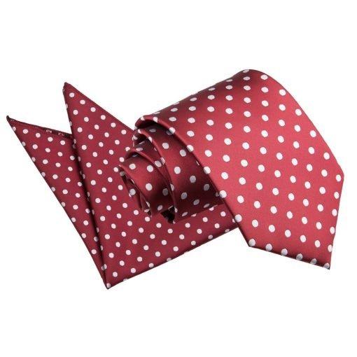 Burgundy Polka Dot Tie & Pocket Square Set