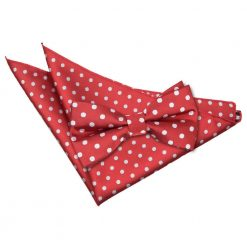 Dark Red Polka Dot Bow Tie & Pocket Square Set