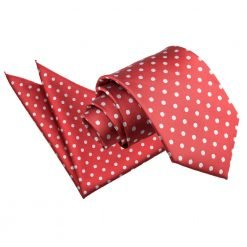 Dark Red Polka Dot Tie & Pocket Square Set