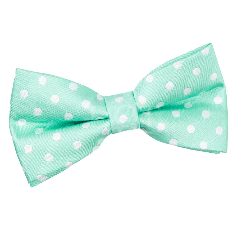 s polka dot mint green bow tie
